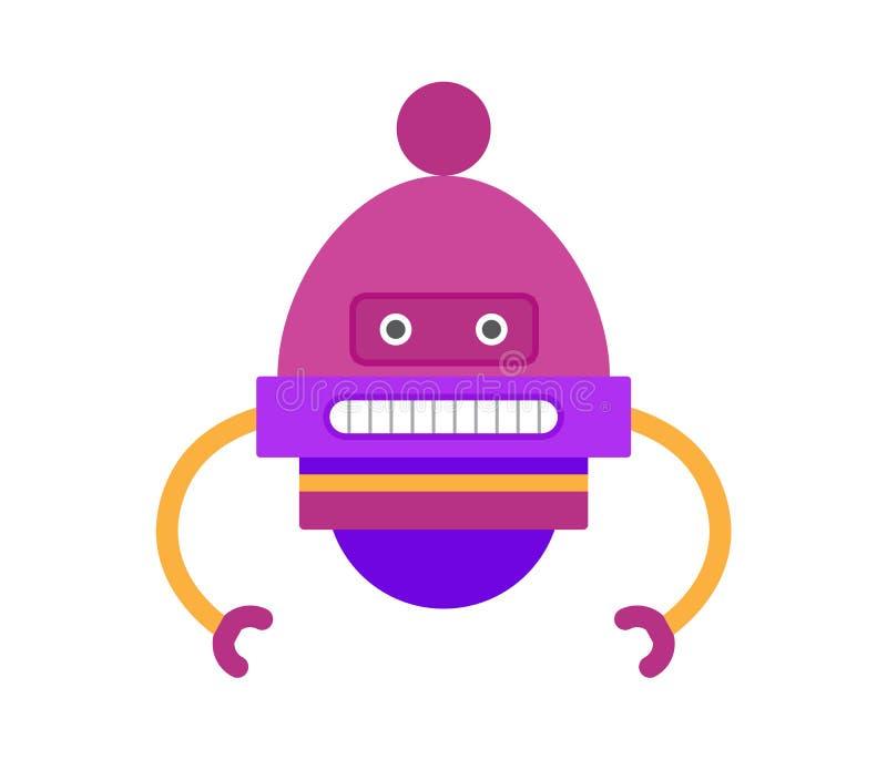 Il robot di colore porpora passa l'illustrazione di vettore illustrazione di stock