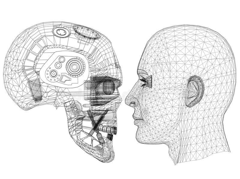 Il robot e la testa umana progettano - architetto Blueprint - isolato royalty illustrazione gratis