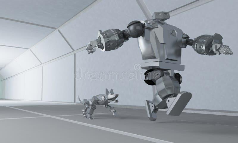 Il robot funziona a partire dal cane sul corridoio dello spazio illustrazione di stock