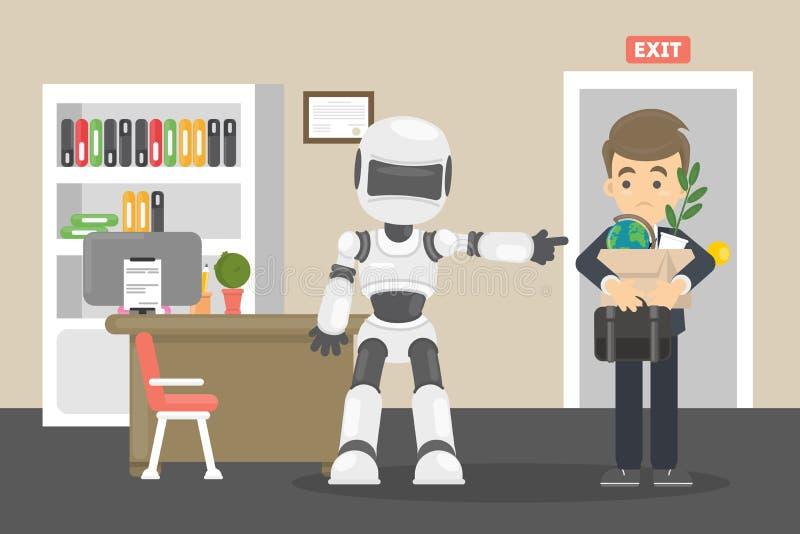 Il robot ha dato dei calci all'essere umano via illustrazione vettoriale