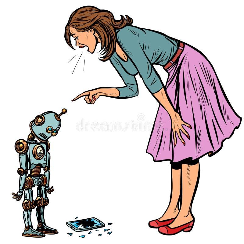 Il robot ha rotto il telefono La donna rimprovera colpevole illustrazione vettoriale