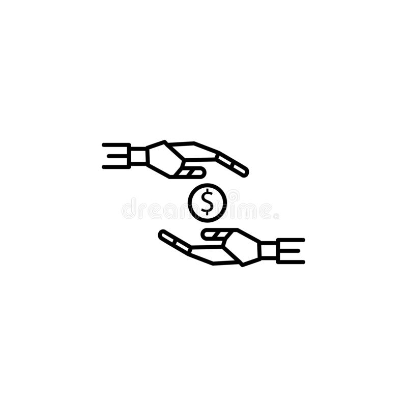 Il robot ricco dei soldi del consulente passa la linea icona di concetto Illustrazione semplice dell'elemento Il robot ricco dei  royalty illustrazione gratis