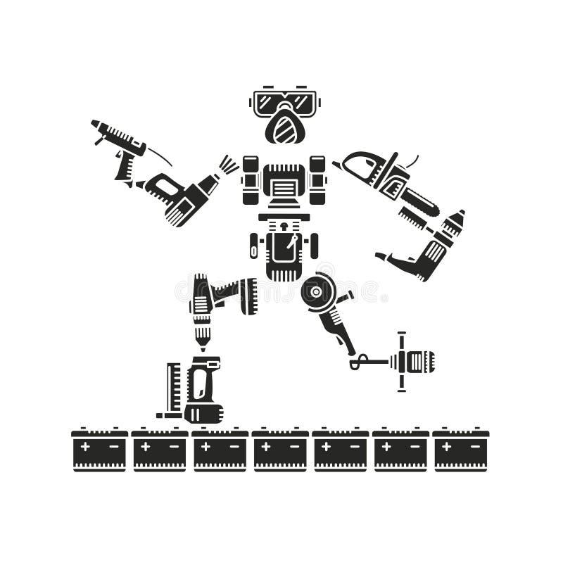 Il robot si compone di vari strumenti elettrici illustrazione di stock