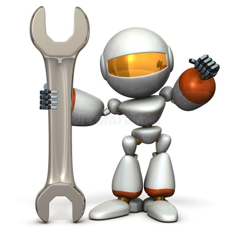 Il robot sta avendo un grande strumento È un simbolo delle capacità tecniche royalty illustrazione gratis
