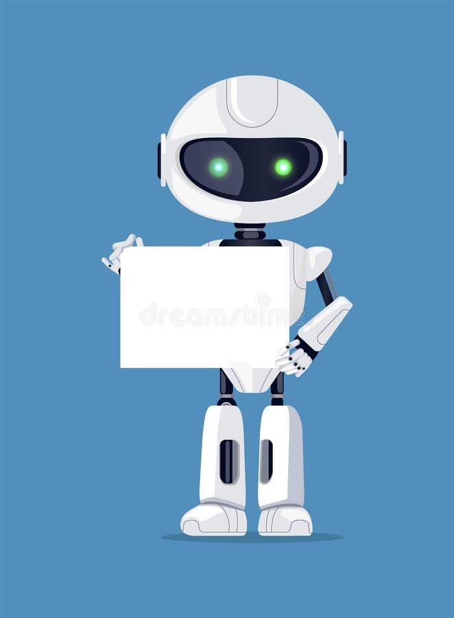 Il robot sta con l'illustrazione di carta vuota di vettore illustrazione vettoriale