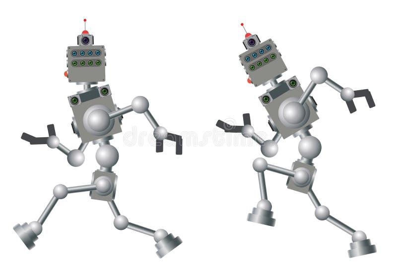 Il robot sta correndo Meccanismo rapido del computer illustrazione vettoriale