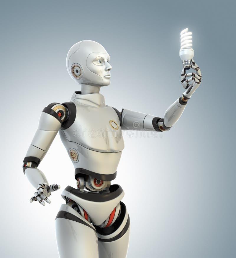 Il robot tiene una lampada economizzatrice d'energia illustrazione vettoriale