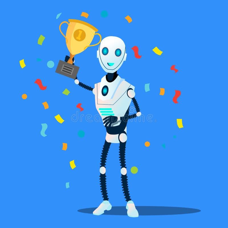 Il robot tiene il vettore disponibile della tazza del vincitore Illustrazione isolata illustrazione di stock