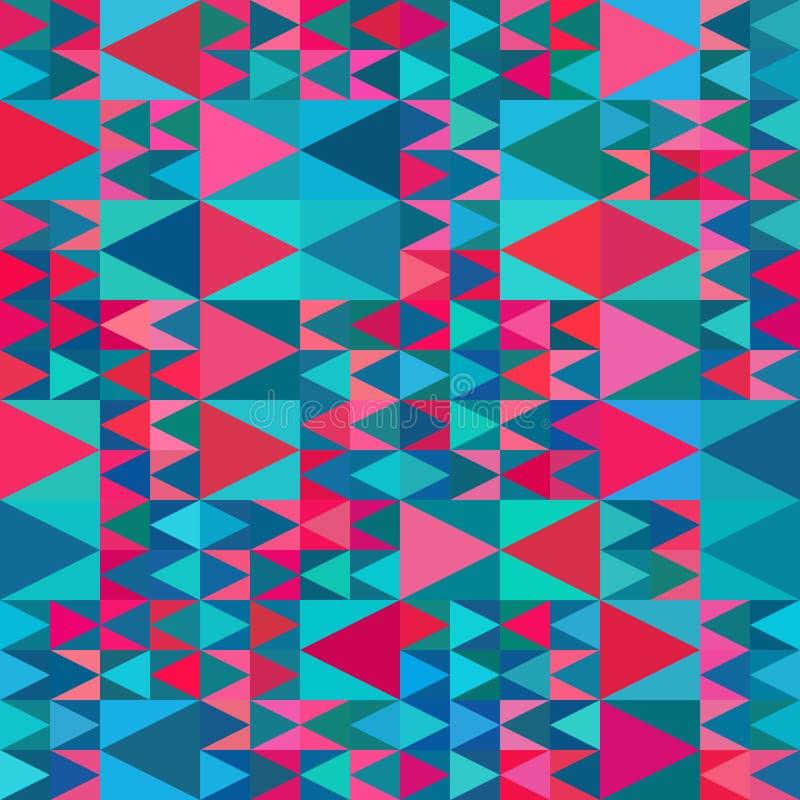 Il rosa blu geometrico senza cuciture di vettore protegge il modello multicolore della trapunta del triangolo illustrazione vettoriale