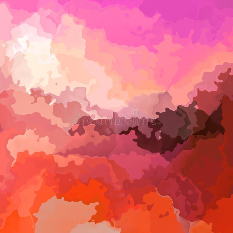 Il rosa caldo macchiato del fondo del quadrato di struttura del modello, arancia, è aumentato, colore rosso e marrone rossiccio - illustrazione vettoriale