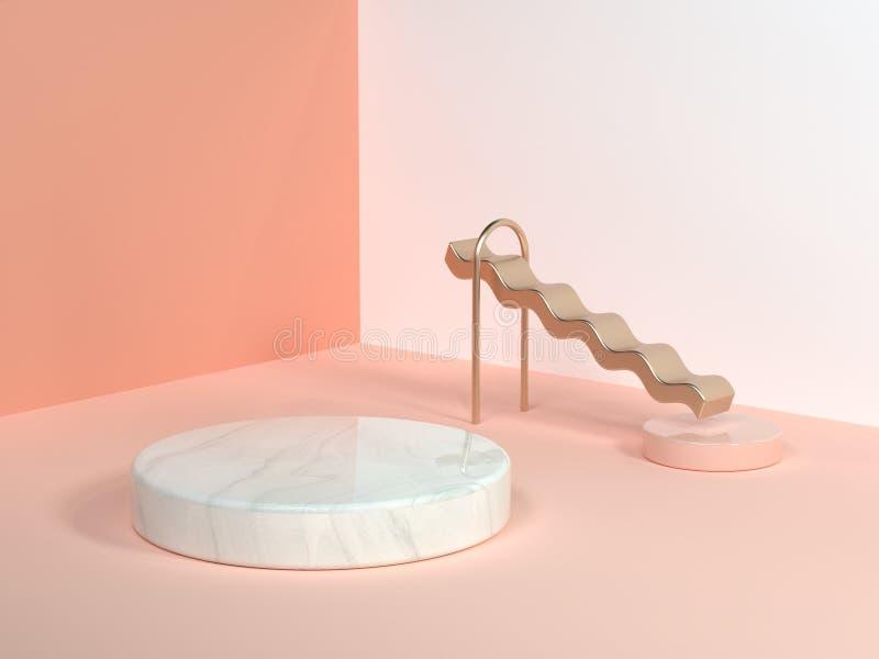 Il rosa di forma della curva dell'onda dell'oro/il cubo di marmo bianco 3d dell'oro del cerchio di scena della parete dell'angolo illustrazione di stock