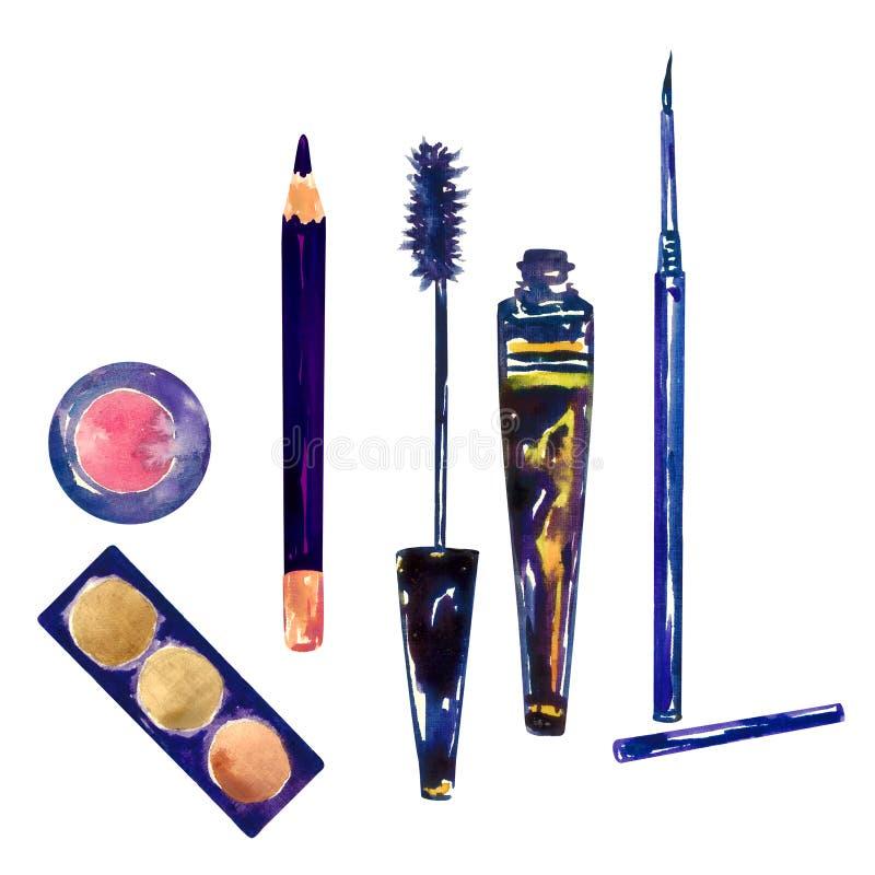 Il rosa e gli ombretti marroni dorati della tavolozza di colori, il nero compongono la matita, il tubo aperto della mascara e la  illustrazione vettoriale