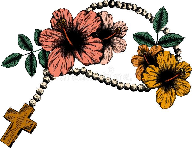 Il rosario santo borda l'illustrazione Sopporto per anima cattolico di preghiera con un incrocio illustrazione di stock