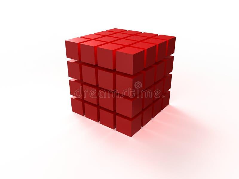 il rosso 4x4 ha ordinato il cubo che monta dai blocchi illustrazione di stock