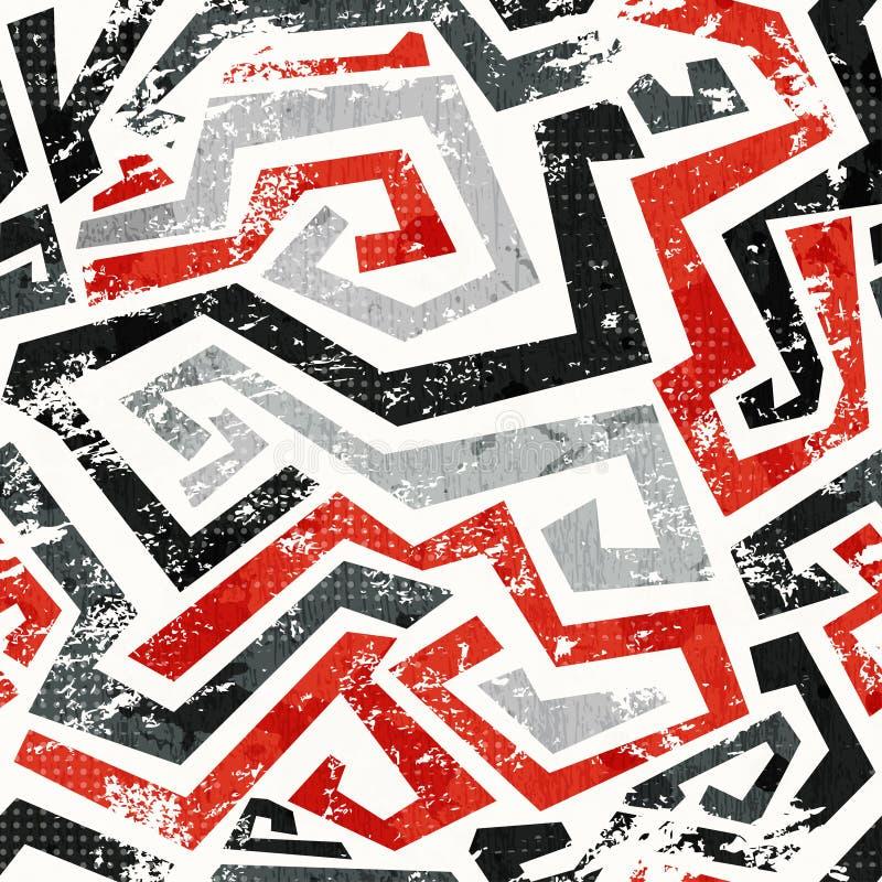 Il rosso astratto di lerciume curvo allinea il modello senza cuciture illustrazione vettoriale