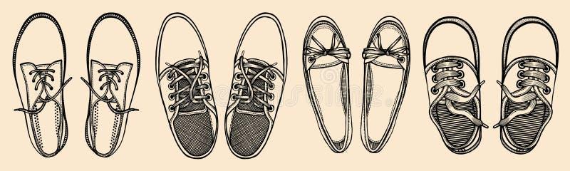 Il rosso blu mette in mostra le scarpe da tennis illustrazione vettoriale