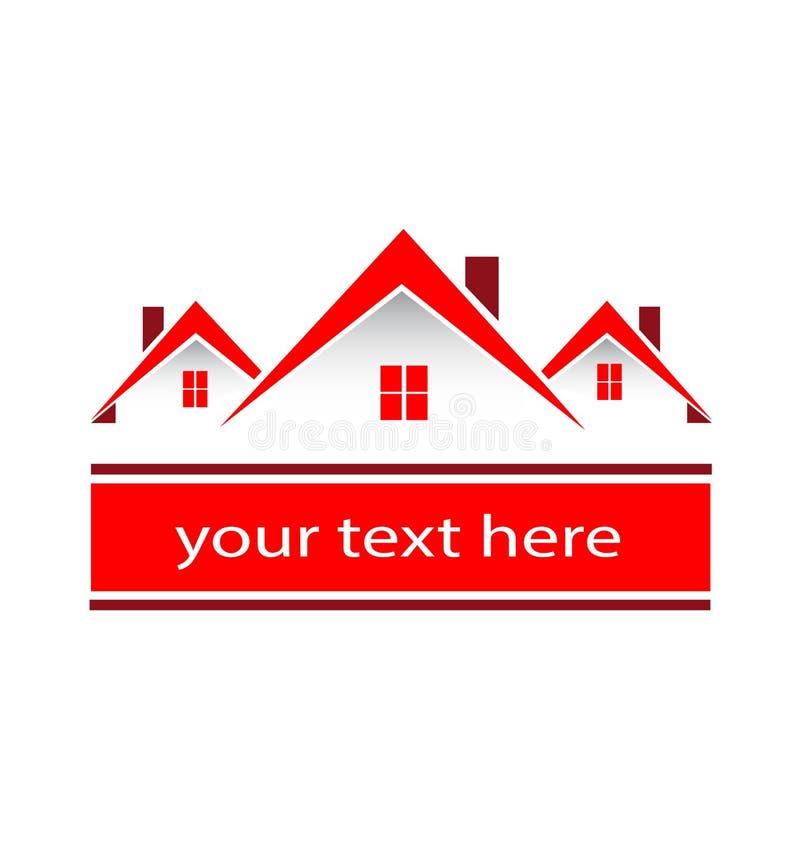 Il rosso del bene immobile della città della Comunità alloggia il logo royalty illustrazione gratis
