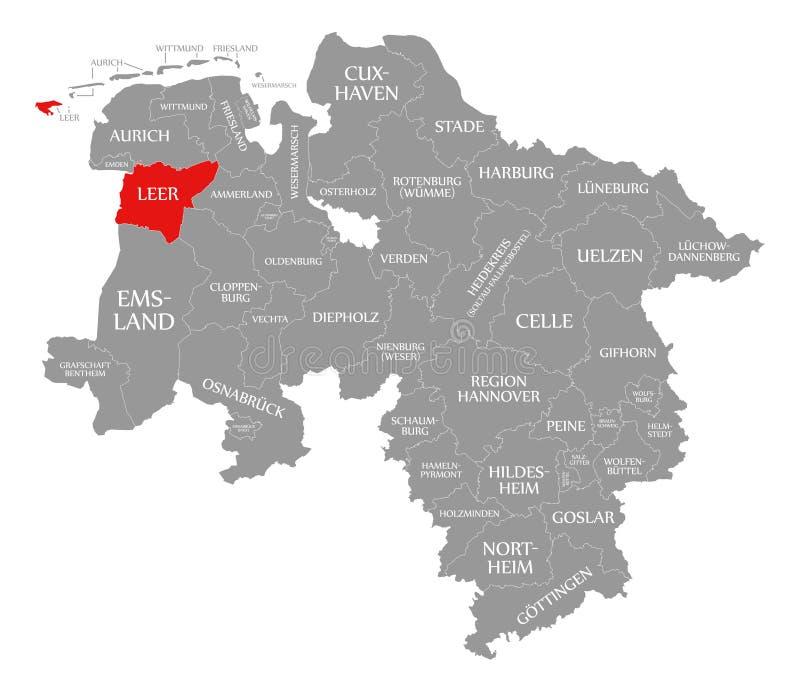 Il rosso della contea di forno di ricottura ha evidenziato in mappa di Bassa Sassonia Germania illustrazione di stock