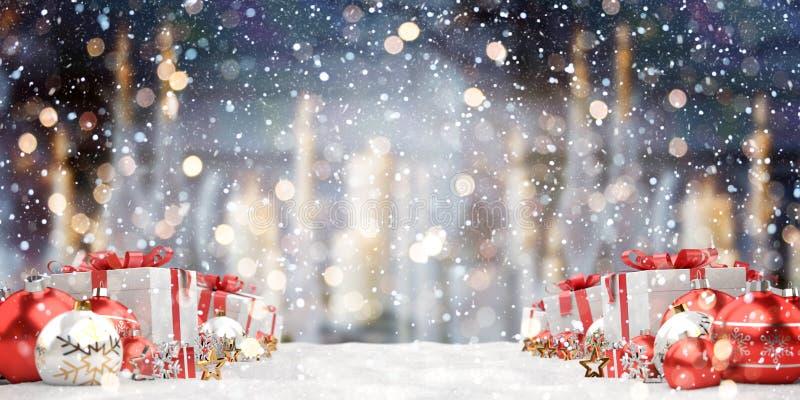 Il rosso ed i regali e le bagattelle di natale bianco hanno allineato la rappresentazione 3D illustrazione di stock