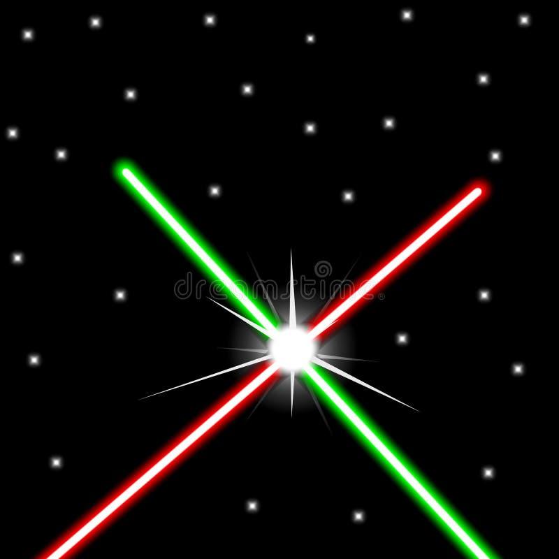 Il rosso ed il verde hanno attraversato le spade leggere sul fondo del cielo notturno illustrazione di stock