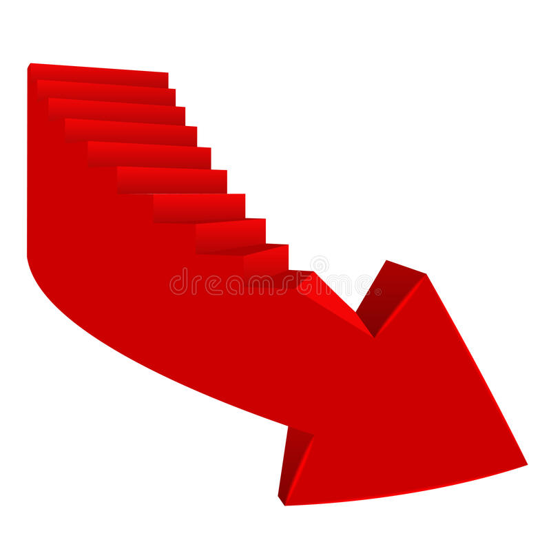 Il rosso ha piegato la direzione della freccia giù con la scala dal lato royalty illustrazione gratis