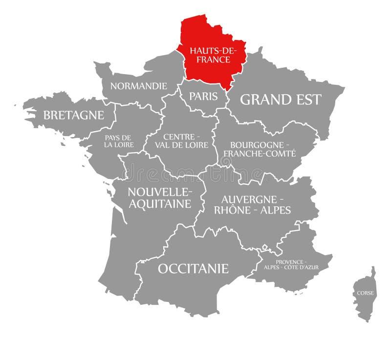 Il rosso Hauts de France nella mappa della Francia illustrazione di stock