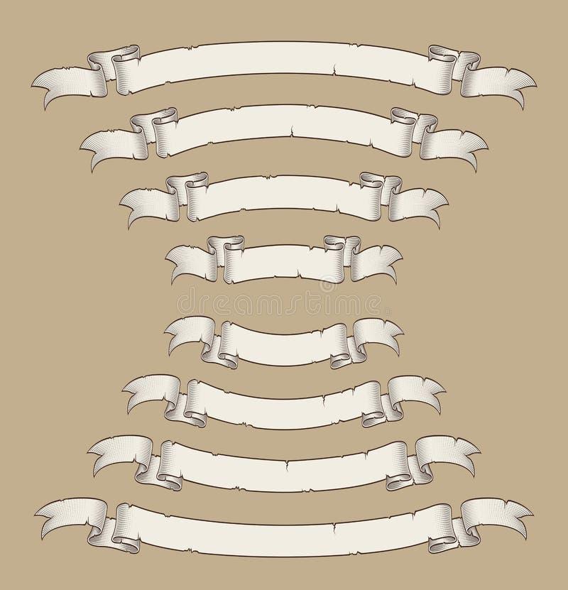 Il rotolo del papiro ha curvato il centro Uwards n verso il basso quattro dimensioni 1 royalty illustrazione gratis