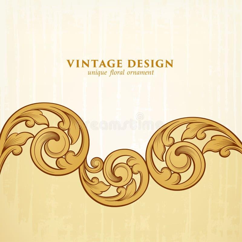 Il rotolo dorato vittoriano barrocco d'annata dell'ornamento floreale del confine della struttura ha inciso il vettore calligrafi illustrazione vettoriale