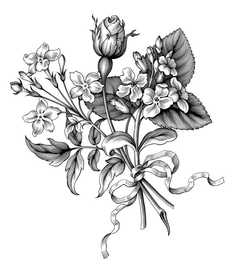 Il rotolo selvaggio dell'ornamento del mazzo floreale della struttura del fiore di Rosa del giardino vittoriano barrocco d'annata illustrazione vettoriale