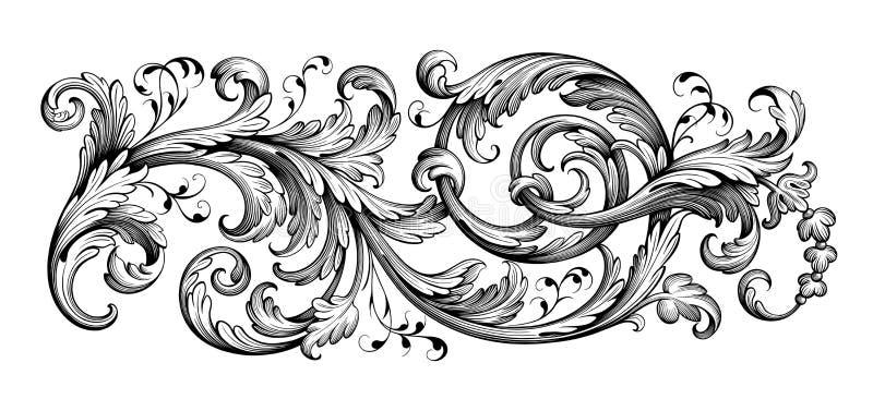 Il rotolo vittoriano barrocco d'annata dell'ornamento floreale del confine della struttura ha inciso il vettore calligrafico del  illustrazione vettoriale