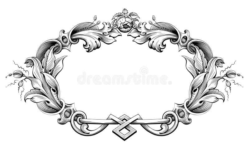 Il rotolo vittoriano barrocco d'annata dell'ornamento floreale del monogramma del confine della struttura ha inciso il retro tatu royalty illustrazione gratis