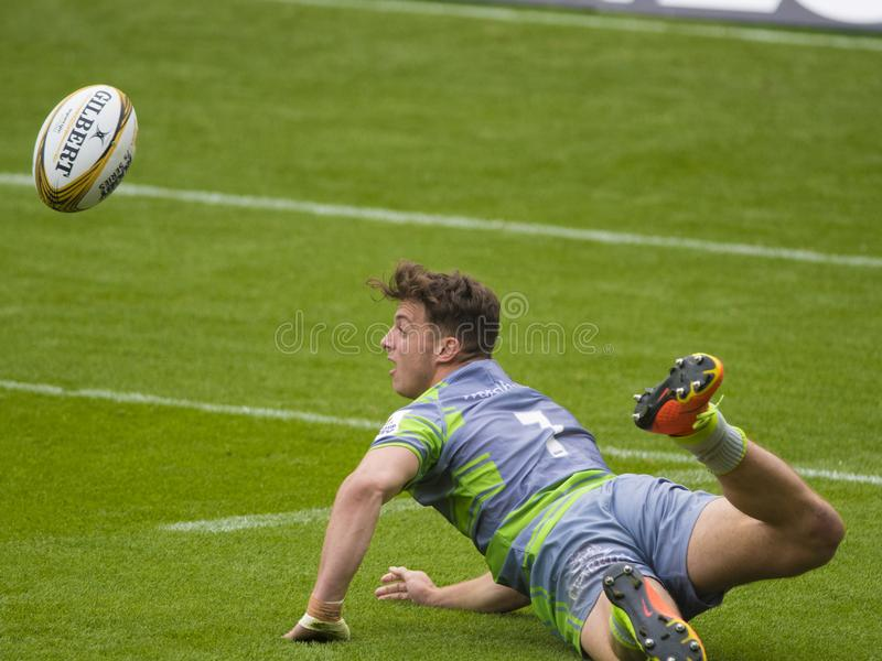Il rugby di Newcastle Falcons 7 serie di premiership di S immagine stock