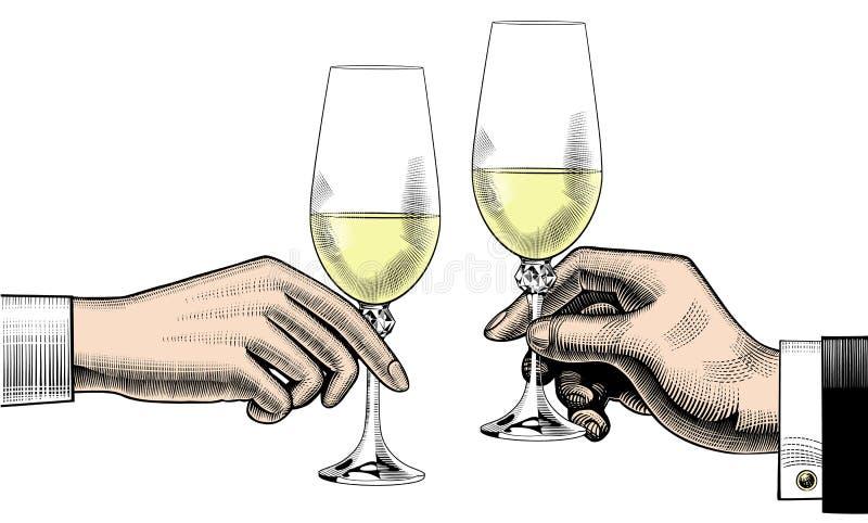 Il ` s degli uomini e il ` s delle donne passa la tenuta dei vetri di champagne Nozze, c royalty illustrazione gratis