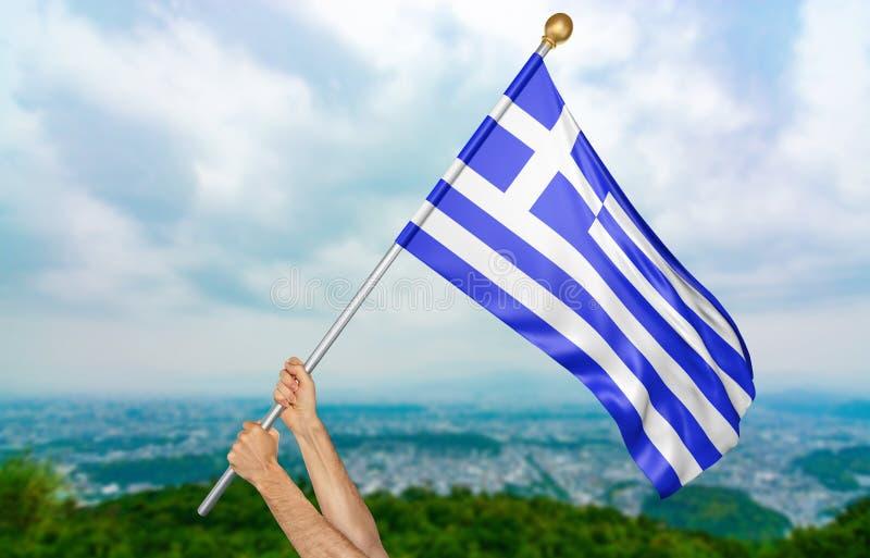 Il ` s del giovane passa fiero l'ondeggiamento della bandiera nazionale della Grecia nel cielo, rappresentazione della parte 3D illustrazione vettoriale
