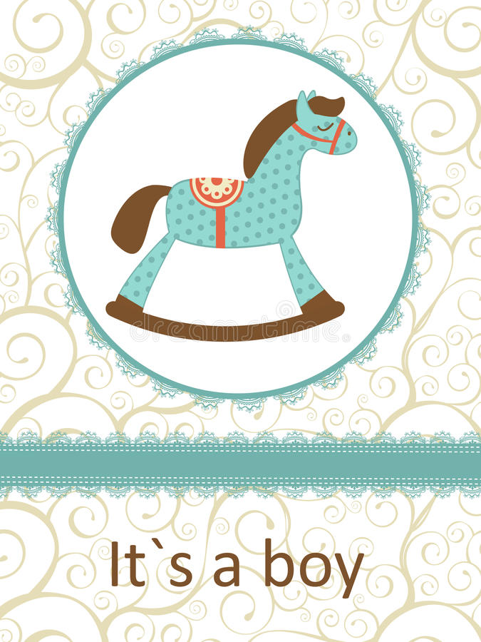 Il ` s une carte de garçon avec le cheval de basculage illustration stock