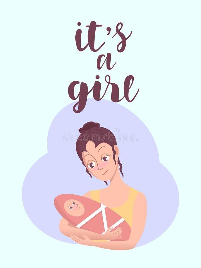 Il ` s une carte de voeux de fille Invitation de vecteur avec la jeune femme tenant l'enfant mignon Calligraphie, conception de l illustration libre de droits