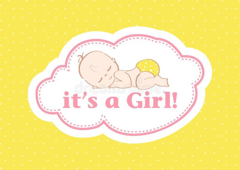 Il ` s une fille ! , belle carte pour célébrer le nouveau membre de la famille À un arrière-plan en pastel ! image stock