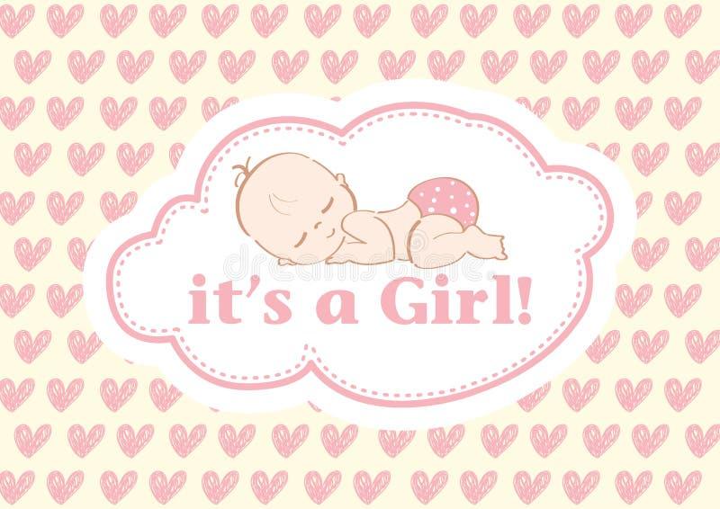 Il ` s une fille ! , belle carte pour célébrer le nouveau membre de la famille À un arrière-plan en pastel ! photographie stock
