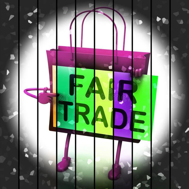 Il sacchetto della spesa del commercio equo e solidale rappresenta gli affari e lo scambio uguali royalty illustrazione gratis