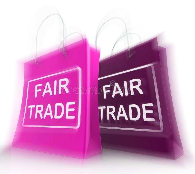 Il sacchetto della spesa del commercio equo e solidale rappresenta gli affari e lo scambio uguali illustrazione vettoriale