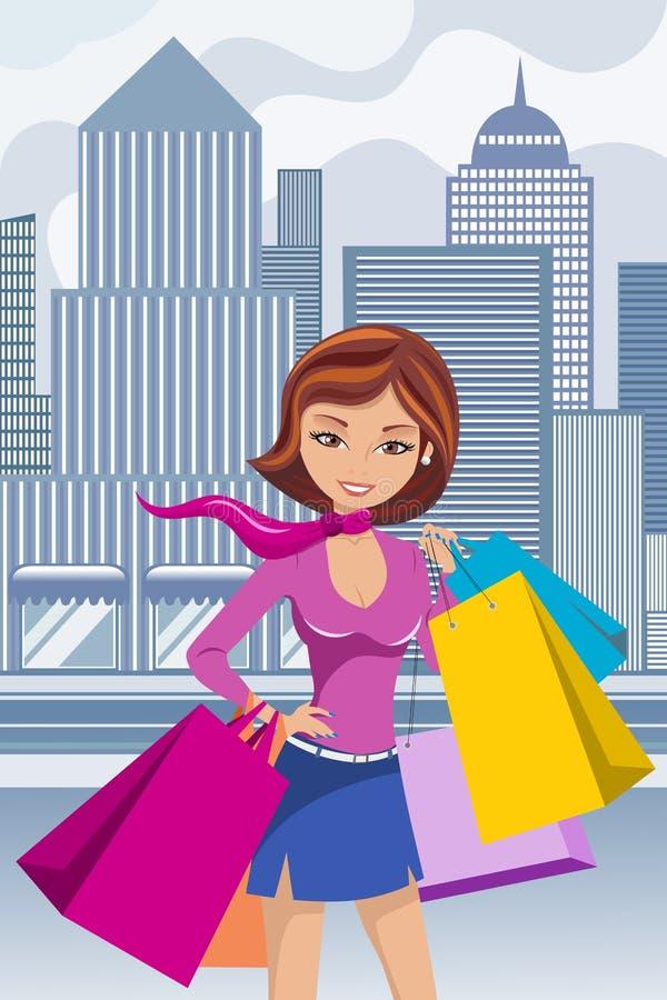 Il sacchetto della spesa della donna di modo insacca in città illustrazione vettoriale