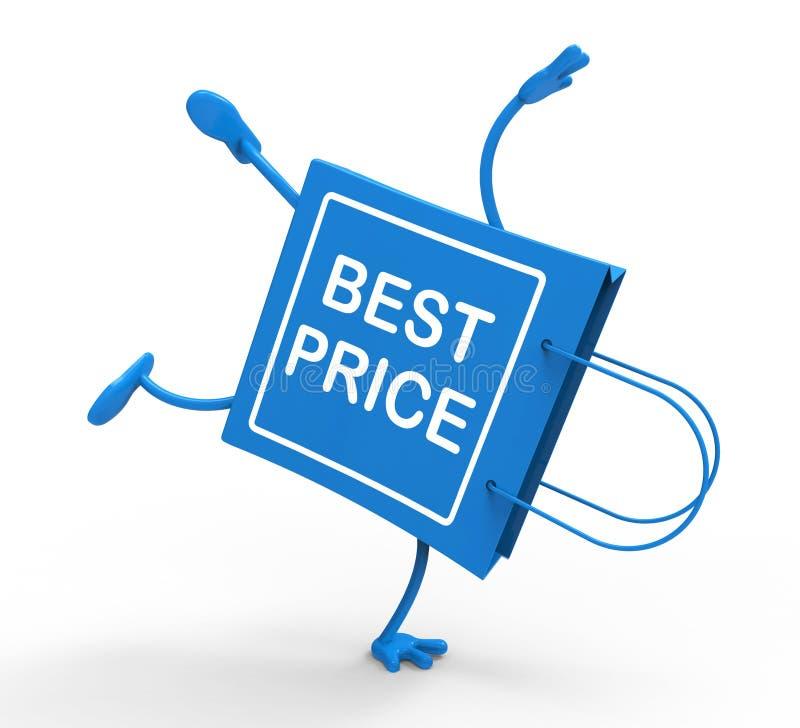 Il sacchetto della spesa di verticale mostra il migliore prezzo illustrazione di stock