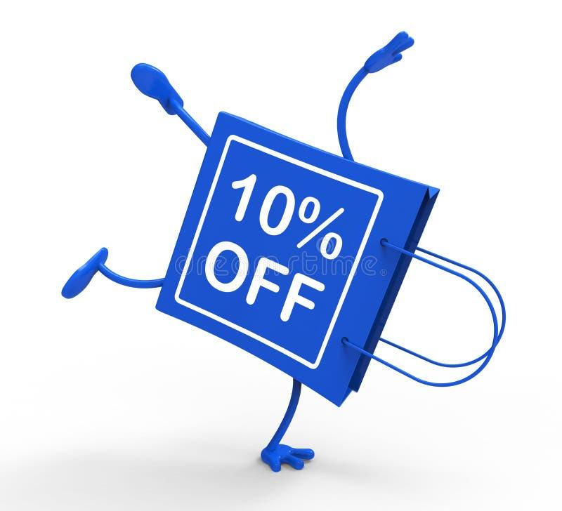 Il sacchetto della spesa di verticale mostra a sconto di vendita dieci per cento royalty illustrazione gratis