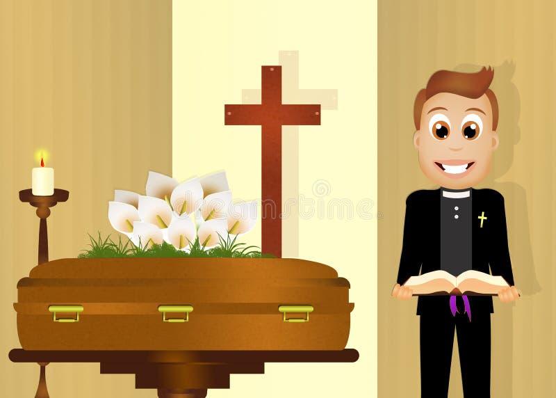 Il sacerdote celebra il funerale illustrazione di stock