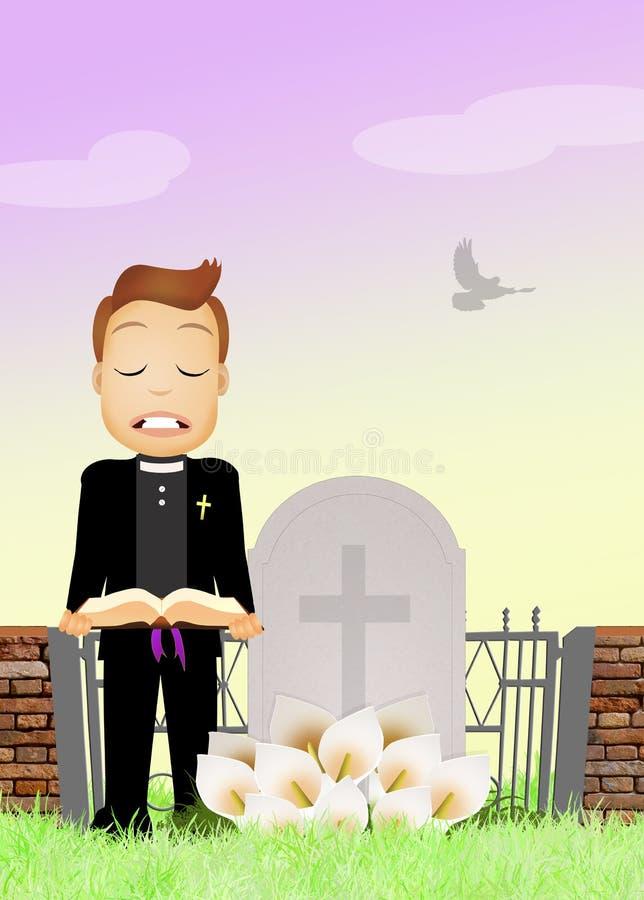 Il sacerdote celebra il funerale illustrazione vettoriale