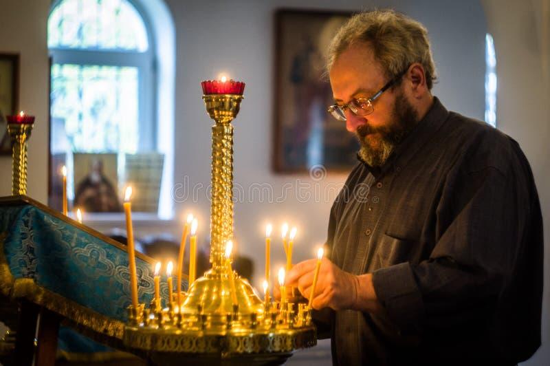 Il sacramento dei misteri di Cristo nella chiesa ortodossa russa fotografie stock libere da diritti