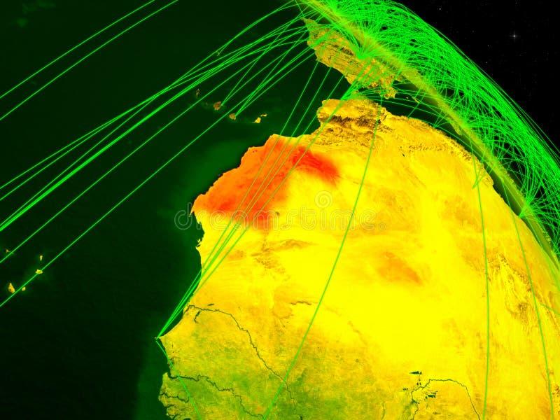 Il Sahara occidentale sul globo digitale illustrazione vettoriale