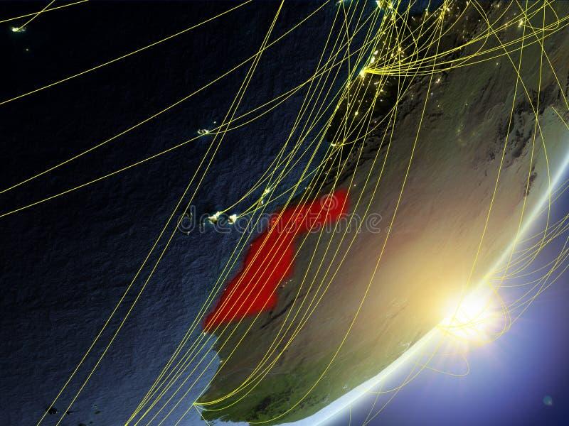 Il Sahara occidentale sul modello di pianeta Terra con la rete durante l'alba Concetto di nuova tecnologia, della comunicazione e royalty illustrazione gratis