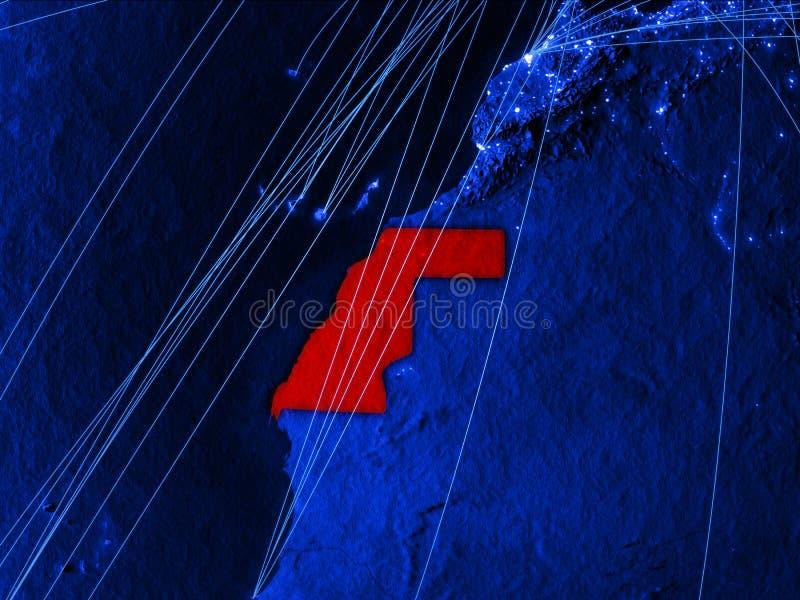 Il Sahara occidentale sulla mappa digitale blu con le reti Concetto del viaggio internazionale, della comunicazione e della tecno royalty illustrazione gratis