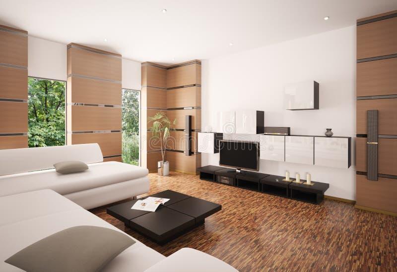 Il salone moderno 3d interno rende illustrazione di stock